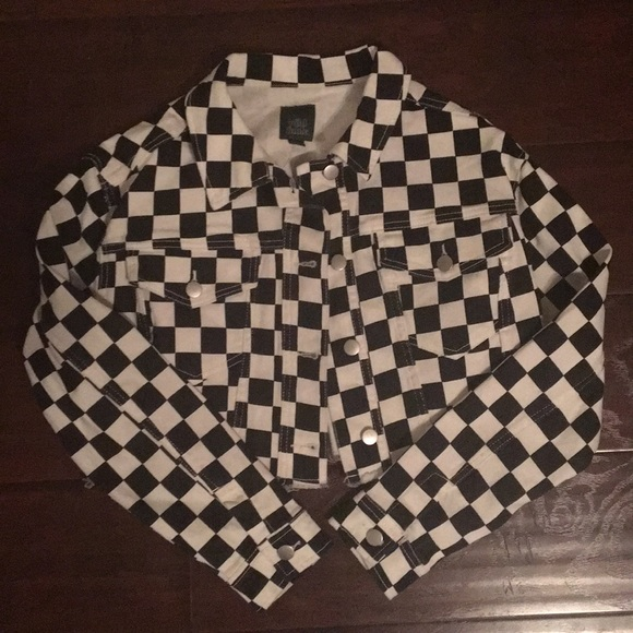 643ab9c809f Wild Fable for Target Jackets   Coats   Checkerboard Jean Jacket ...